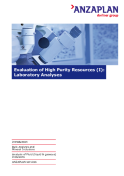 Evaluation of High Purity Resources (I): Laboratory Analyses